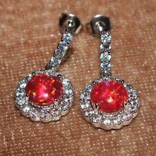 1 PAIR fire opal Cz earrings gemstone silver jewelry elegant cocktail stud drop