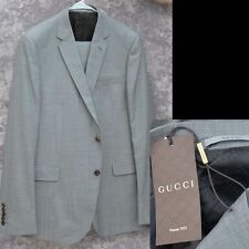 GUCCI New sz 58 R - 48 Authentic Designer Gray Mens 2 Button Wool Suit