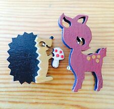 Animal hand painted acrylic on laser cut plywood Hedgehog and Deer Badge/Brooch