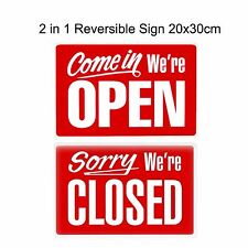 1x Open and Closed Sign Reversible Plastic Shop Window Large 30x20cm