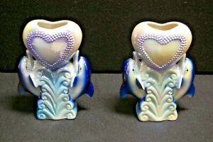 Ceramic Heart & Dolphins Vase, Set of Two (2), Brand New