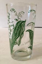 Vintage Lily of the Valley Peanut Butter Glass Glasses Drinking Tumbler Mauzy
