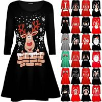 Womens Ladies Xmas Santa Costume Belt Waving Reindeer Christmas Swing Mini Dress