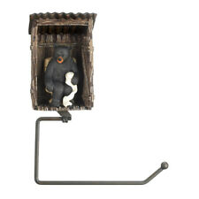 BEAR OUTHOUSE TOILET PAPER HOLDER Rustic Cabin Wildlife Bathroom Decor New