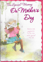 SPECIAL MUMMY  MOTHERS DAY CARD**GIRL ON SWING, RIBBON & BOW*(Y5)