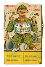 Vintage Postcard Mechanical France Soldier War Calendrier de la Classe food meal