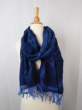 LAUREN Ralph Lauren Oversize Wool Bridle Jacquard Tassel Fringe Scarf Blue #6429