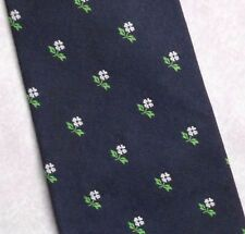 Lombardia Cravatta da Tie Rack Seta Blu Scuro Fiore Crest Motif 1980s 1990s da Uomo Cravatta