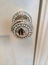 BEAUTIFUL PAIR OF SHINY NICKEL CRYSTAL STUDDED DOOR PUSH AND PULL KNOBS HANDLES