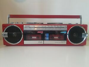 Rare Sharp QT - 77  HW Double Cassete Boombox Ghettoblaster used.