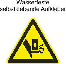 Hinweis Aufkleber Warnung vor quetschgefahr  ab 5cm Uv fest
