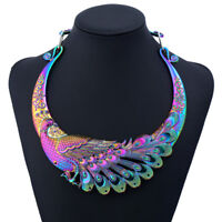 Multi Color Carving Peacock Turquoise Metal Maxi Ethnic Choker Necklace For Wome