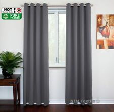Blockout Blackout 3 Layers Pure Fabric Thermal Insulated Eyelet Curtains Pair Grey 2 Panels 180cm X 213cm Each