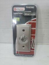 Doorbell Button LED Halo Lighted Insert Recess Mount Rectangular Satin Nickel