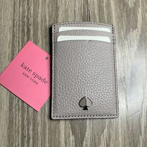 Kate Spade New York Polly Pink Pebbled Leather Card Holder Wallet PWRU7176 NEW