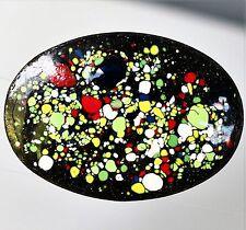 Copper enamel art confetty colors on black cameo   BROOCH