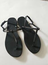 Women's Havaianas Gladiator Thong Sandal Black Leather Strap 37/38(7/8)