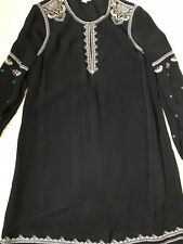 REDUCED! Embroidered Black Monsoon Party / Cocktail Dress Size 10 Knee Length