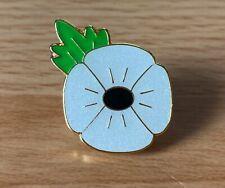 White Glitter Poppy pin badge. Peace. Lest We Forget.