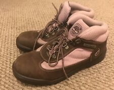 Women's Timberland Pink Brown Leather Hiking Boots Size 6.5