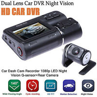 "Full HD 2.0"" 1080P LCD Car DVR Camera Dual Lens Video Dash Cam +Rear View Camera"