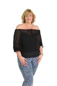 Ladies 3/4 Sleeves Bardot Sheer New Plus Size Elasticated Loose Boho Casual Top
