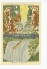 Burning Spring—Indian Sacrifice—Vintage Niagara Falls PC Vintage Natives 1940s
