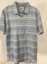 QUICKSILVER MEN'S THE AVENTAIL BUTTON UP STRIPED SHIRT LIGHT BLUE/WHT LG NWT $52