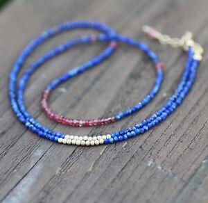 Natural Red Spinel  Lapis Wrap Bracelet Necklace 14k Gold Filled 9th Anniversary
