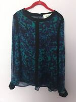 Alice Blue For Stitch Fix Blouse Size Small Green Black Nwt