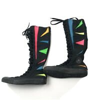 Converse Chuck Taylor All Star Knee High Boots Lace Up Zip Neon Rainbow Unisex