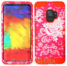 for Samsung Galaxy S9 & Plus KoolKase Hybrid Silicone Cover Case Flower Rose 36