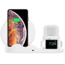 3 en 1 Cargador Inalámbrico Estación Base de carga rápida para iPhone 8 X Xr Apple Blanco