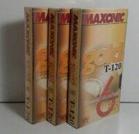 Maxonic Gold T-120, 6 hours BLANK VHS 3 Tapes