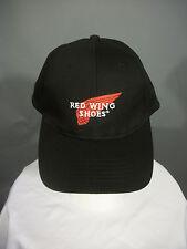 True Vintage Black Red Wing Shoes Embroidered Logo Snapback Baseball Cap Hat