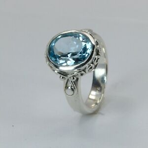 Size 7 Oval BLUE TOPAZ Ring 925 STERLING SILVER #48