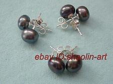 cadeau de Noël,Trois paires de boucles d'oreilles noires de perles de culture
