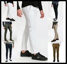 Pantaloni da uomo chino slim fit elasticizzati eleganti cotone estivi bianchi 48