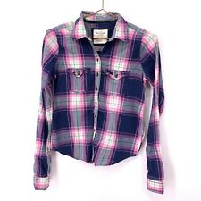 Abercrombie & Fitch Women's Long Sleeve Button Front Plaid Shirt XS