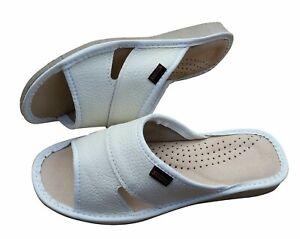 Women's Slip On Slippers Size 3-8 White Natural Leather Sandal Slider Mule Beach