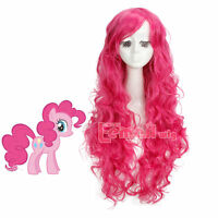 Women 70cm Long Magenta My Little Pony Pinkie Pie Curly Wavy Party Cosplay Wig