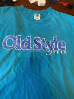 vintage old style beer Graphic T Shirt Teal Size Large Large Spell Out Logo