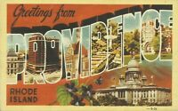 Greetings From Providence Rhode Island Large Letter Linen Postcard