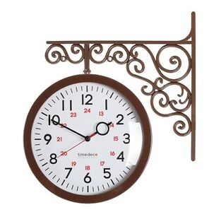 Antique Art Design Double Sided Wall Clock Station Clock Home Decor - A2Brown
