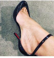NWB Christian Louboutin Dollyla 100MMBlack Patent Ankle Strap Heel Pump Shoe 37