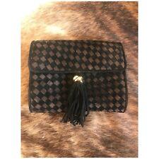 Rare Vintage Woven suede black and brown interlocking ring tassel clutch