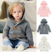 Toddler Baby Boys Girls Solid Color Ears Hooded Knitted Tops Warm Coat Clothes