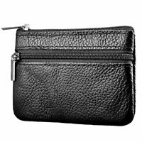 Black Soft Men Women Card Coin Key holder ZIP Genuine Leather Wallet Pouch Bag