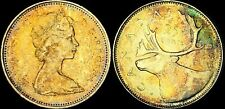 1966 CANADA SILVER 25 CENTS HIGH QUALITY COLOR TONED COIN