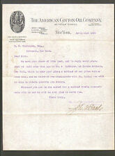 American Cotton Oil Co Cake Meal Seed New York 1898  Vintage Letterhead Rare